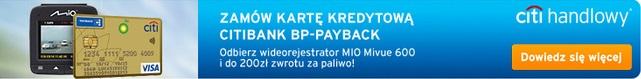 karta kredytowa Citibank z wideorejestratorem i 200 zł na paliwo bank citihandlowy