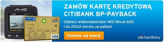 karta kredytowa Citibank z wideorejestratorem i 200 zł na paliwo citihandlowy