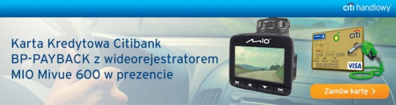 Wideorejestrator MIO MiVue karta kredytowa Citibank