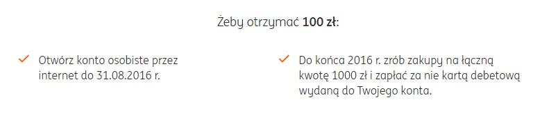 100 zł za otwarcie konta w ING Banku Śląskim promocja