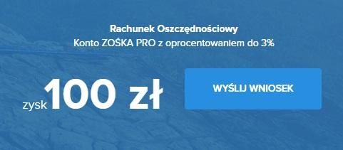 Konto ZOŚKA PRO z premią 100 zł