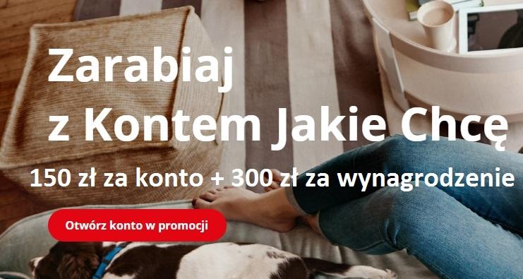 150 zł za konto + 300 zł za wynagrodzenie w BZ WBK
