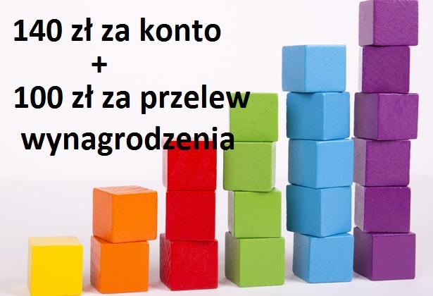 140 zł premii za otwarcie konta