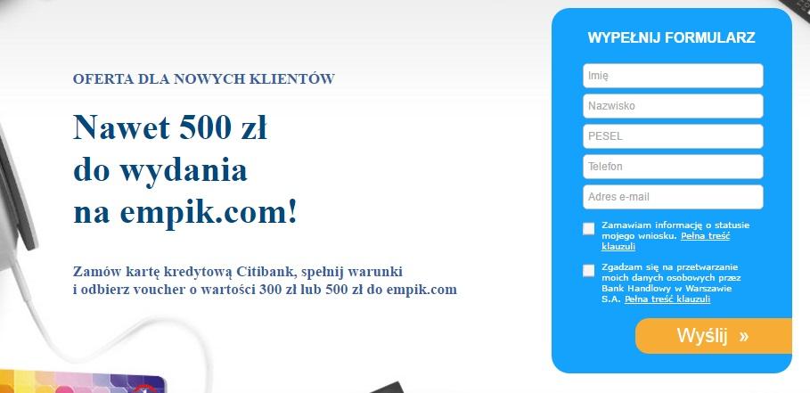 Citibanku za kartę kredytową