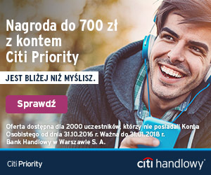 150 zł + 700 zł premii za konto Citi Priority