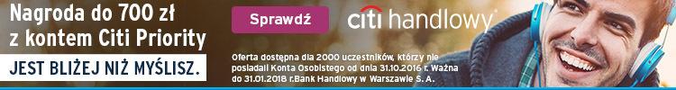700 zł premii za konto Citi Priority