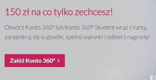 150 zł za Konto 360 w Banku Millennium