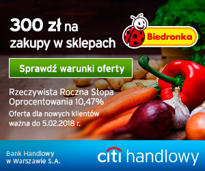 300 zl do Biedronki za kartę w Citibanku