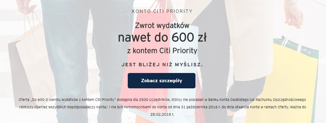 600 zł premii za konto Citi Priority