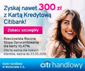 300 zł za kartę kredytową Citibank