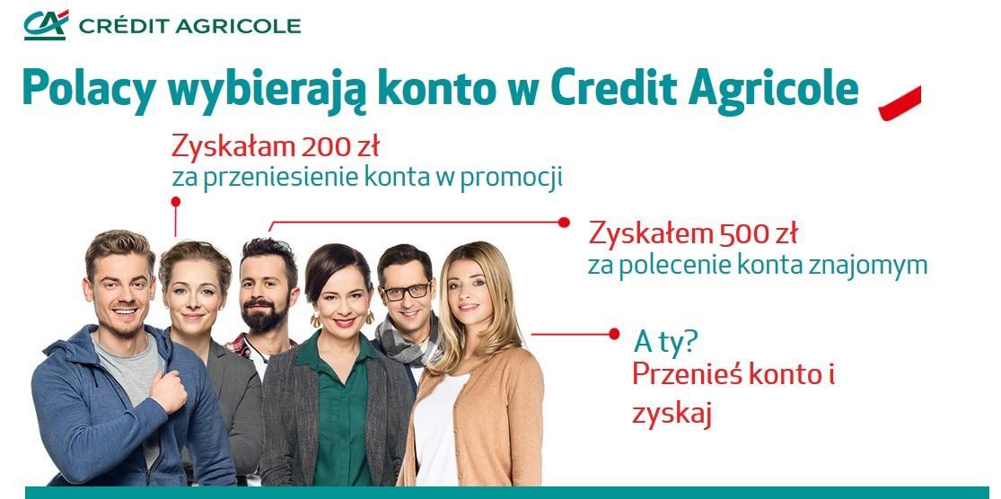 credit agricole 200 zł za przeniesienie konta