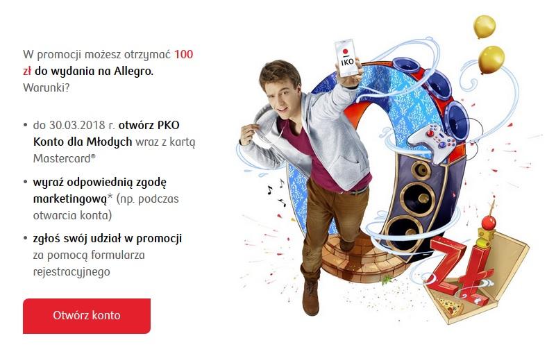 100 zł do wydania na Allegro za Konto dla Młodych