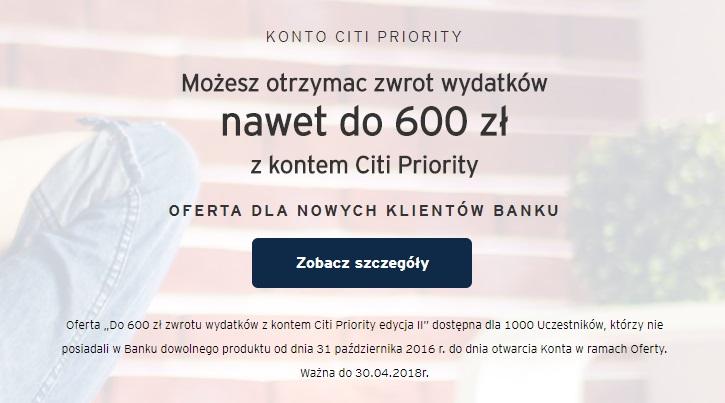 600 zł za konto osobiste w Citibanku