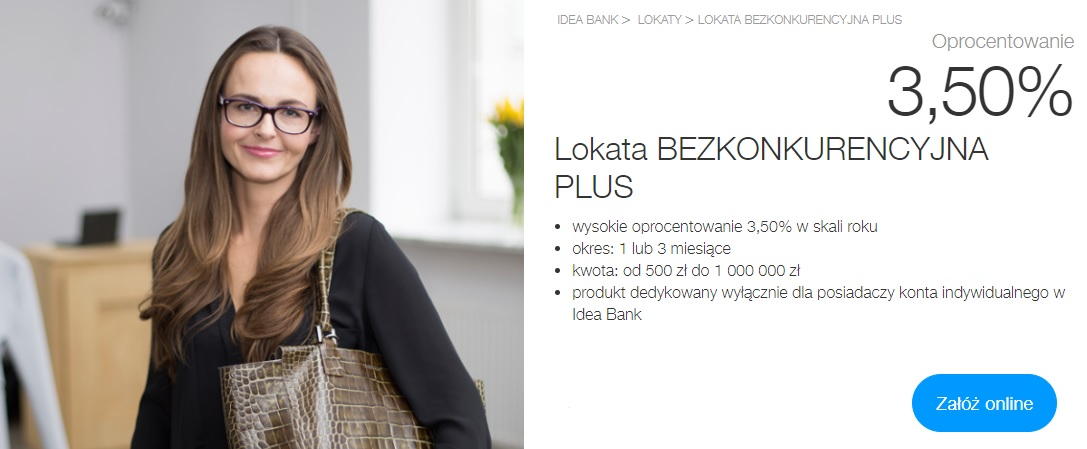 Lokata Bezkonkurencyjna Plus idea bank 3,50