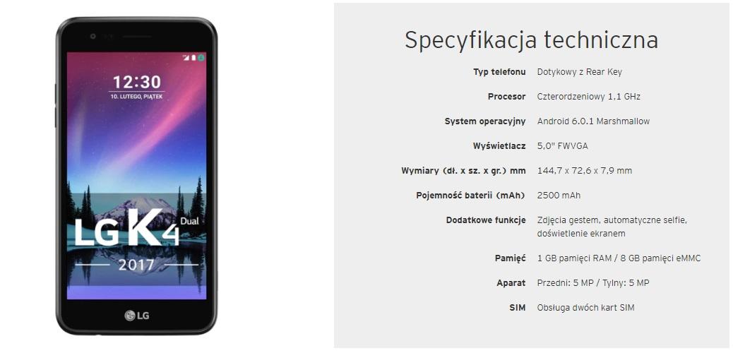 Smartfon LG K4 za kartę kredytową