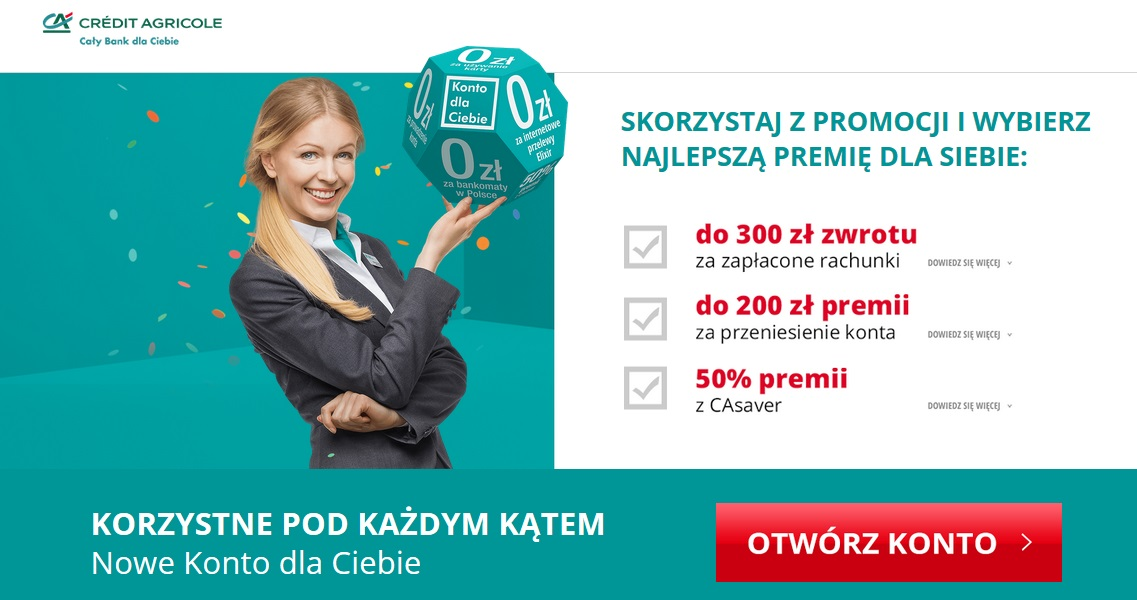 350 zł za konto w Credit Agricole