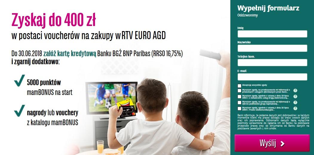 400 zł do RTV EURO AGD za kartę kredytową w BGŻ BNP Paribas