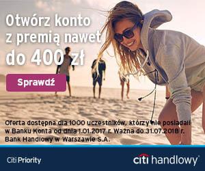 400 zł premii za konto osobiste Citi Priority w Citibanku