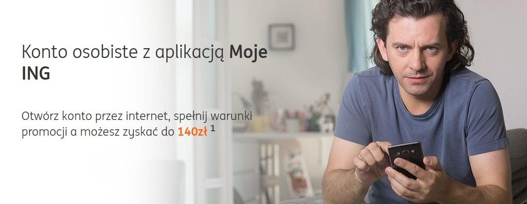 Ponownie do 140 zł za Konto Direct, Komfort lub Mobi w ING Banku Śląskim