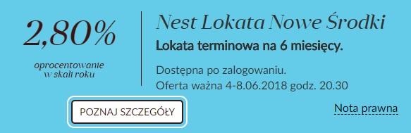 Nest Lokata Nowe Środki na 2,80% na 6 miesięcy w Nest Banku