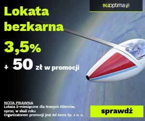 Premia 50 zł za Lokatę Bezkarną ma 3,50% w BGŻ Optimime