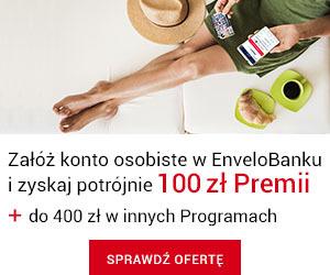 100 zł premii za konto osobiste w EnveloBanku