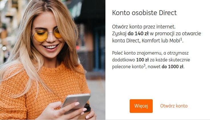 140 zł za konto osobiste w ING Banku Śląśkim