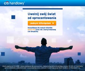 Najlepszy kredyt konsolidacyjny na 0% do 10.000 zł na karcie Simplicity w Citibanku
