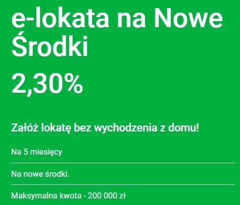 Nowa Lokata na Nowe Środki na 2,30% w Getin Banku