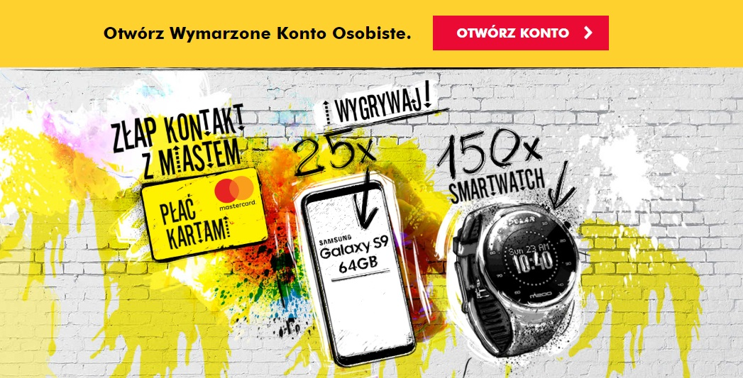 Złap kontakt z miastem czyli smartfon Samsung Galaxy S9 lub zegarek sportowy Polar M200 w konkursie Raiffeisen Polbanku dla wszystkich