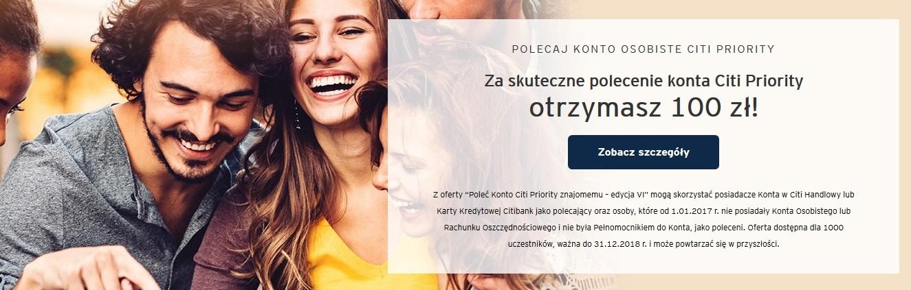 150 zł premii za Konto Internetowe Citi Priority + 100 zł za polecenie
