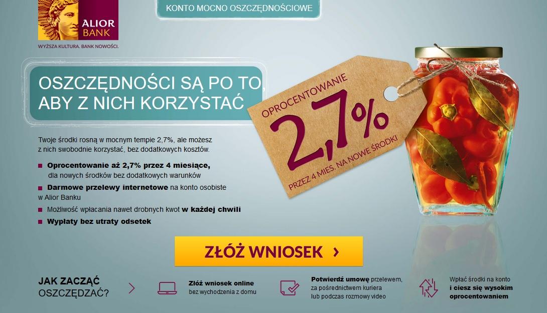 Konto Mocno Oszczędnościowe w Alior Banku na 2,70% - 4 edycja