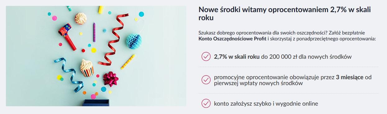 Ponownie Konto Oszczędnościowe Profit na 2,70% dla nowych środków do 200.000 zł + 200 zł za Konto osobiste w Banku Millennium