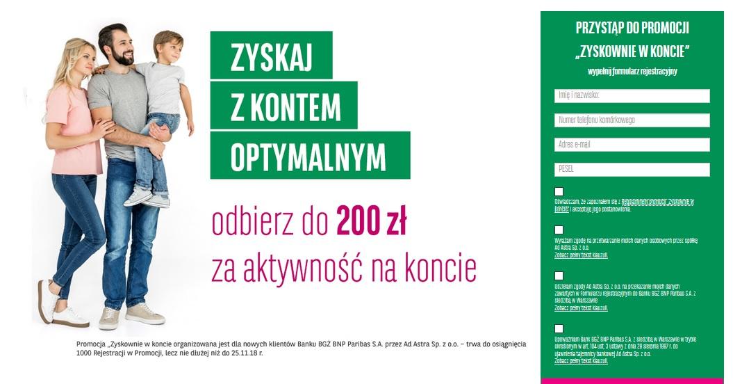 200 zł za konto osobiste w BGŻ BNP Paribas