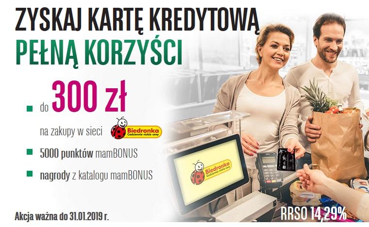 300 zł do Biedronki za kartę kredytową w BGŻ BNP Paribas