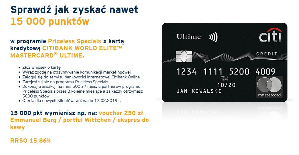 Do 15000 punktów w Programie Priceless Specials za kartę kredytową Citibanku
