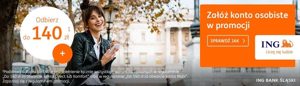 190 zł za konto w ING Banku Śląskim + 100 zł dla osób polecających