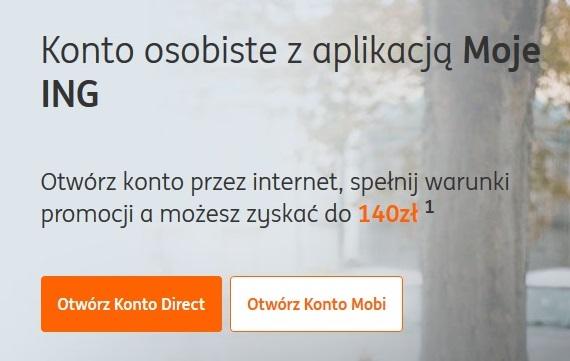 140 zł + 50 zł za konto w ING Banku Śląskim