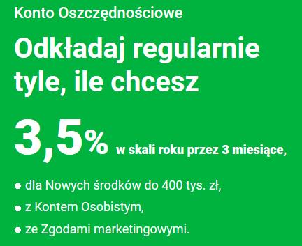 3,50% na Koncie Oszczędnościowym i 50 zł za Konto Osobiste