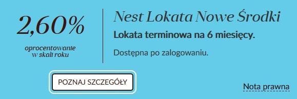 Nest Lokata Nowe Środki na 2,60% na 6 miesięcy w Nest Banku