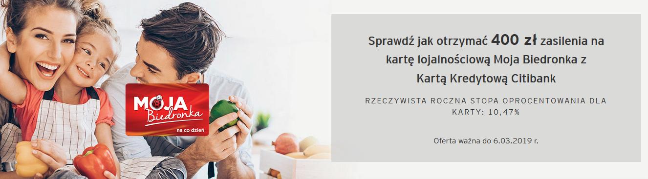 400 zł na karcie moja biedronka citi simplicity Citbank