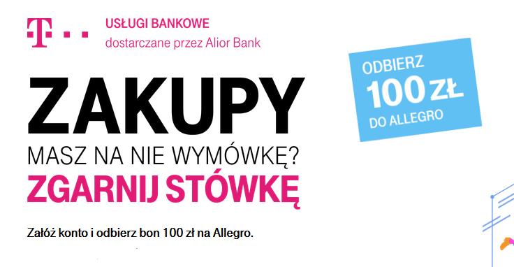 Premia 100 zł na Allegro za konto osobiste w T-Mobile Usługi Bankowe