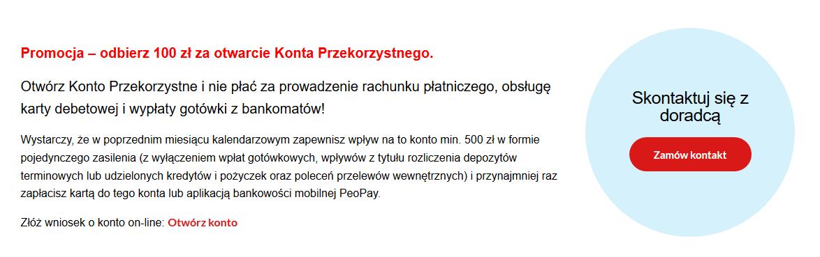 100 zł za konto osobiste w Pekao SA