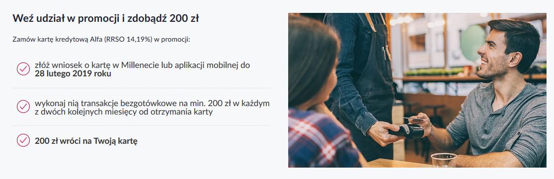 Premia 200 zł za kartę kredytową w Banku Millennium