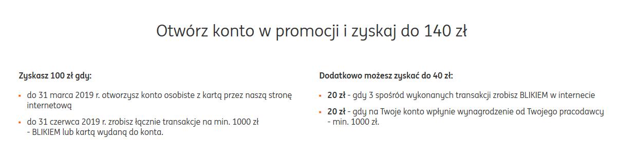 140 zł za konto osobiste w ING Banku Śląskim