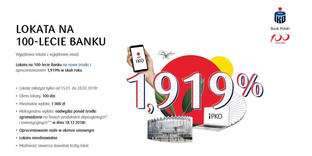 Lokata na 100-lecie Banku