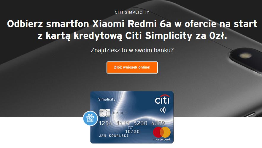 Xiaomi Redmi 6A za kartę kredytową w Citibanku