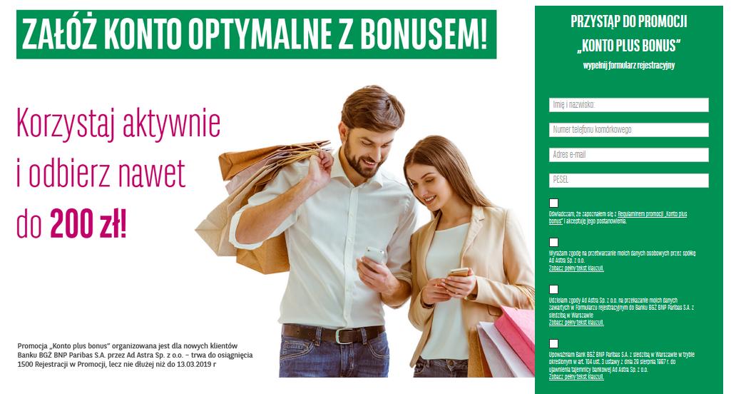 200 zł za konto osobiste w BGŻ BNP Paribas w promocji Konto plus bonus
