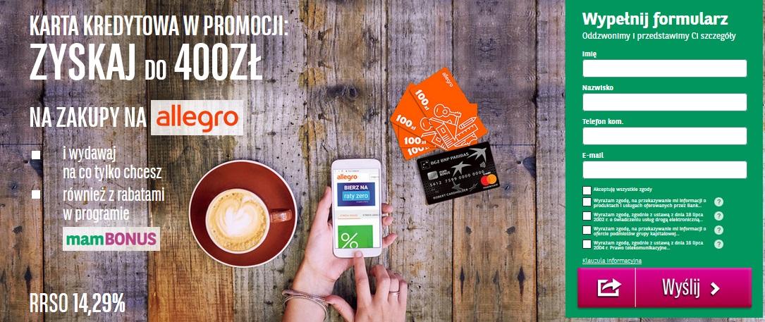 Ponownie 400 zł na Allegro za kartę kredytową w BGŻ BNP Paribas