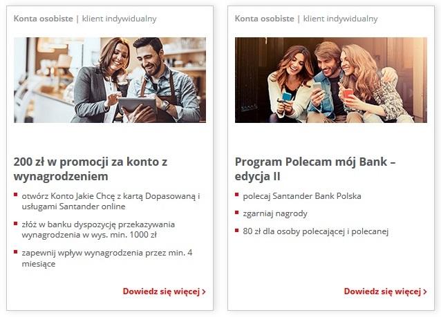 80 zł i 200 zł za konto w Santanderze
